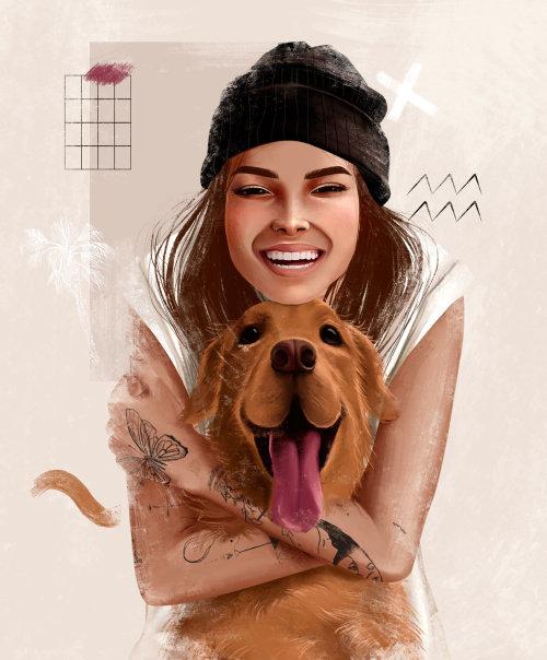 Conception de personnages femme Smiley avec chien