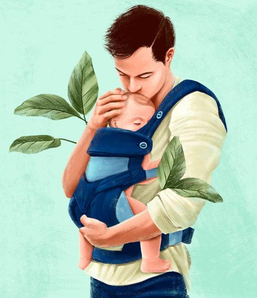 Père portant bébé fils dans un sac à dos