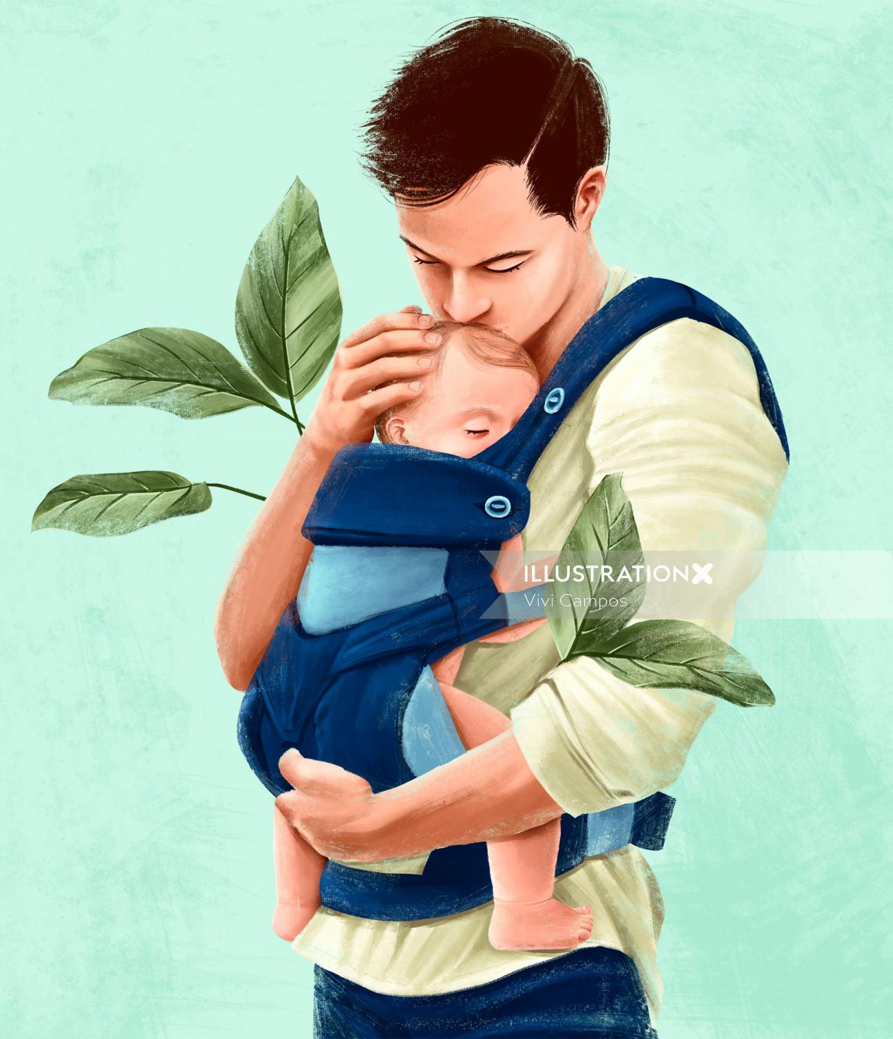 Father carrying baby Son in rucksack