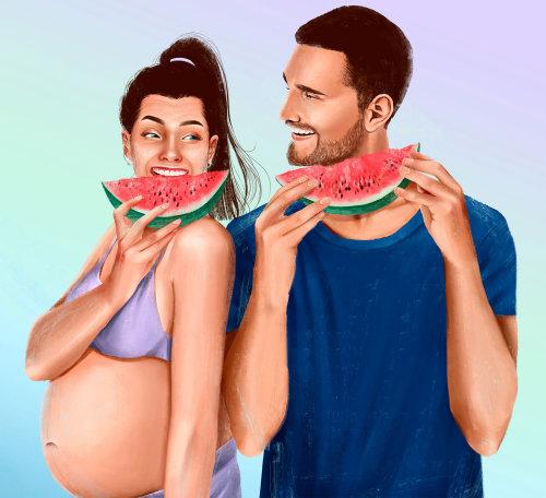Les parents doivent avoir de la pastèque