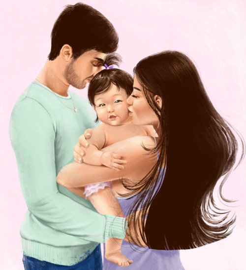 Graphic Couple with baby
