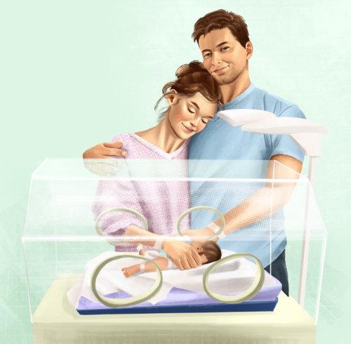 Graphic Couple with newborn