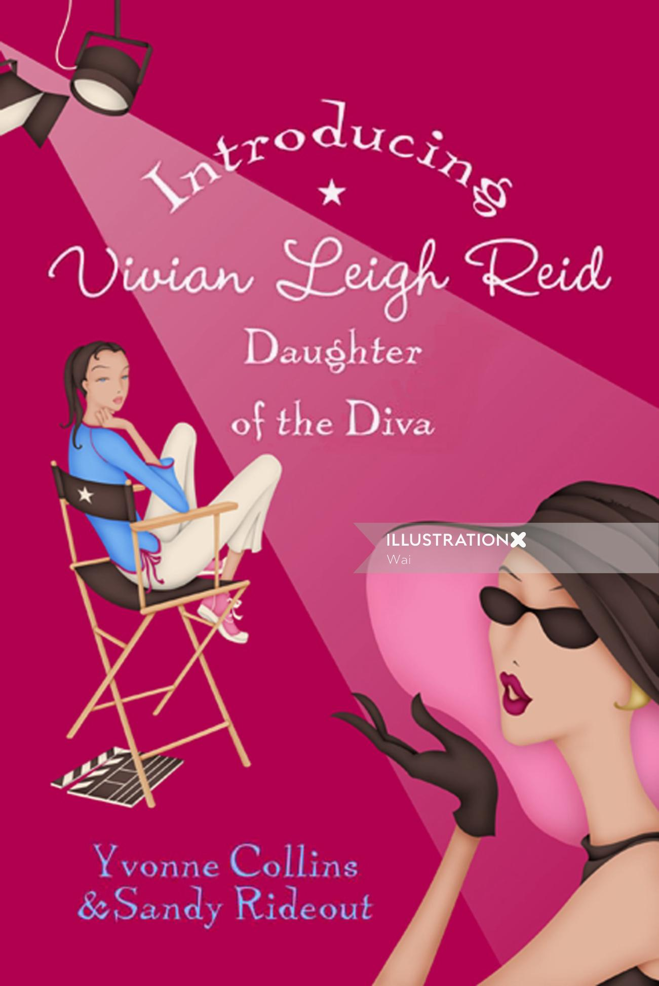Book Cover, Daughter of a Diva series, girl sitting on director's chair, spotlight, film clapper, fi