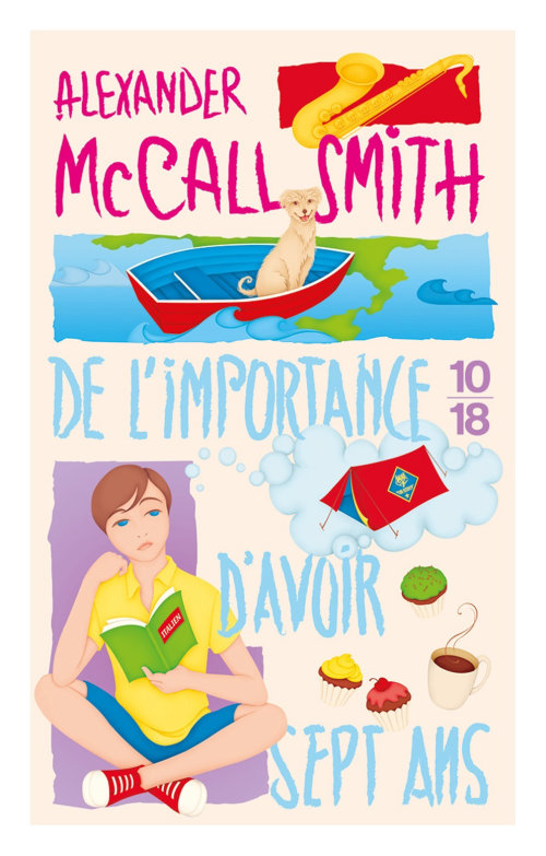 Alexander McCall Smith book cover, The 44 Scotland Street Series, French Edition, Bertie studying It