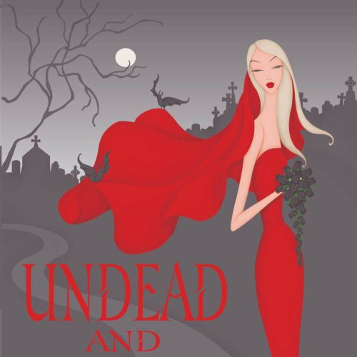 Book Cover, Undead Series by Mary Janice Davidson, Betsy wearing a red wedding gown in a graveyard w