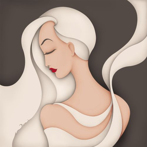 Graphic profile of a woman with flowing hair and dress