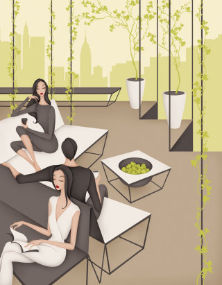 People relaxing at the Communal Area of an Apartment Building