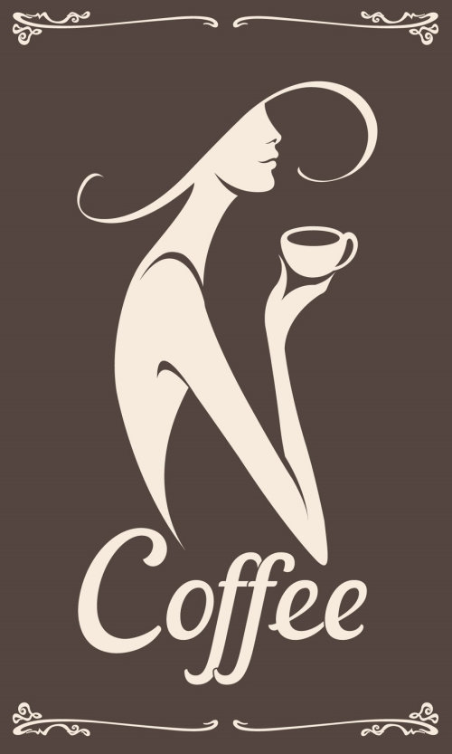 Graphic logo of a woman in a hat sipping coffee.