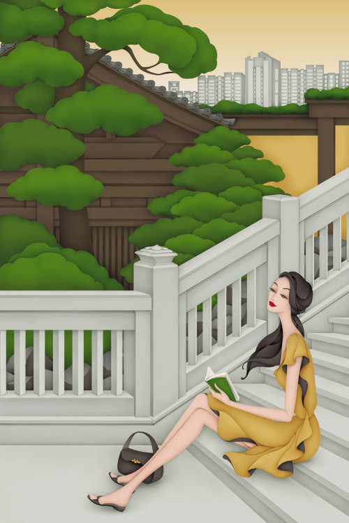 Second illustration in my Hong Kong Beauty Series, set in secret places of Beauty in Hong Kong. This