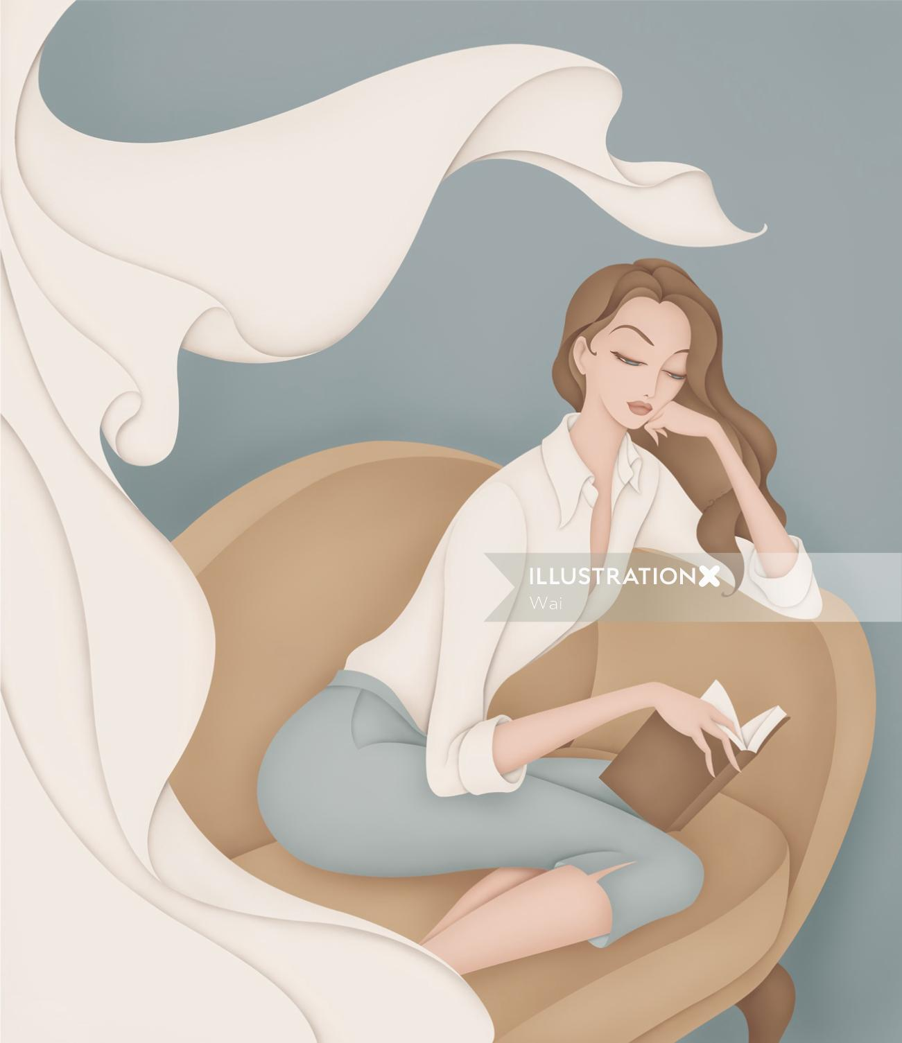 Woman reading on chaise lounge wearing classic white shirt