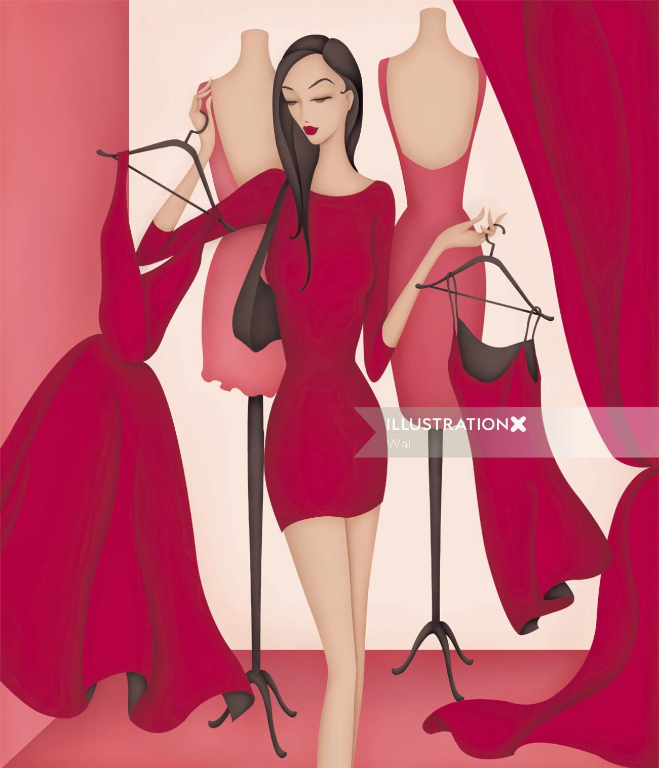 Woman shopping for dresses