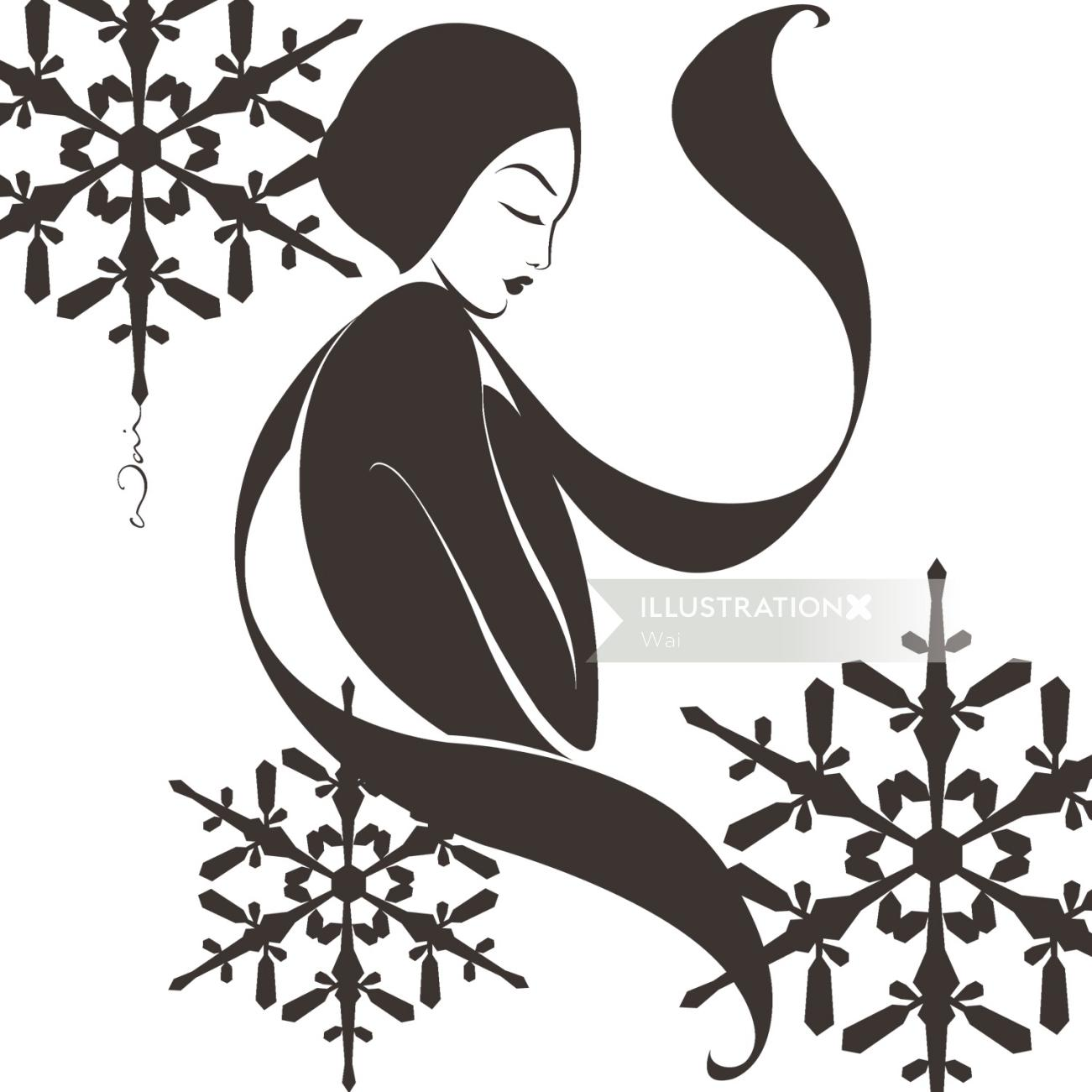 Black and White illustration of a woman rugged up for winter in a scarf and hat, with snowflakes fal