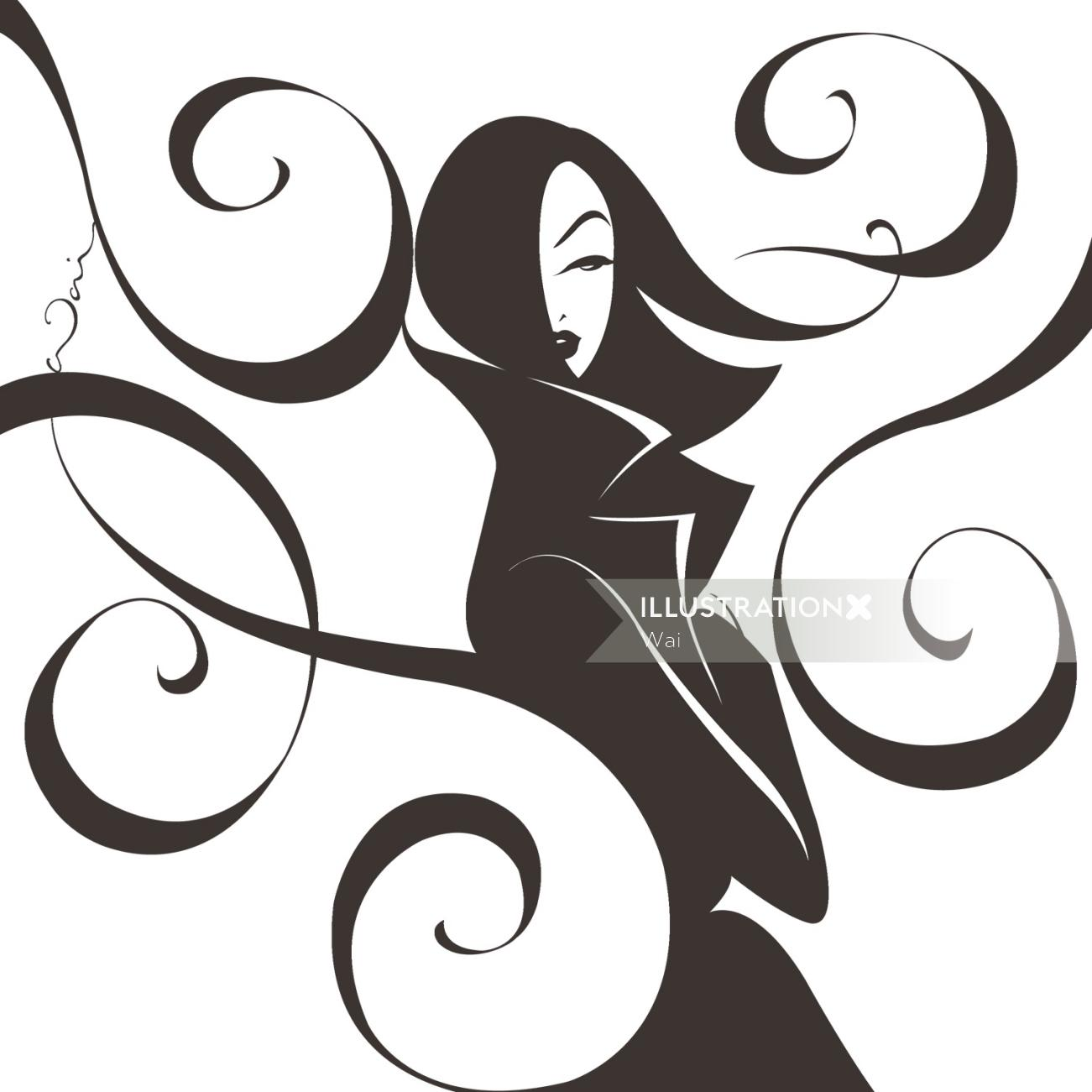 Black and white illustration of woman in a trenchcoat, windy swirls surround her.