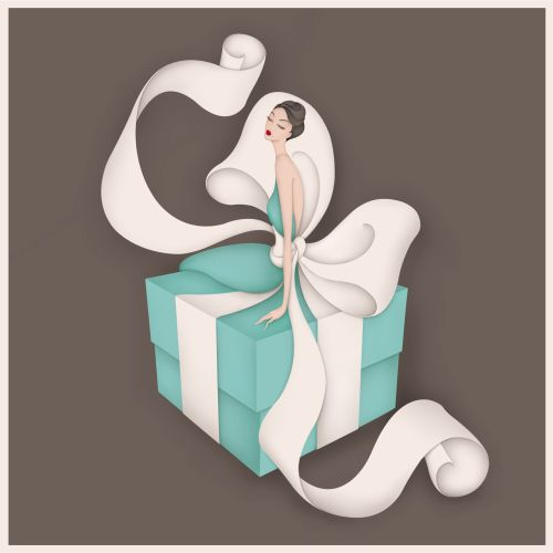Luxury Brand illustrations, Tiffany & Co. Iconic Tiffany blue box and white ribbon with a twist.