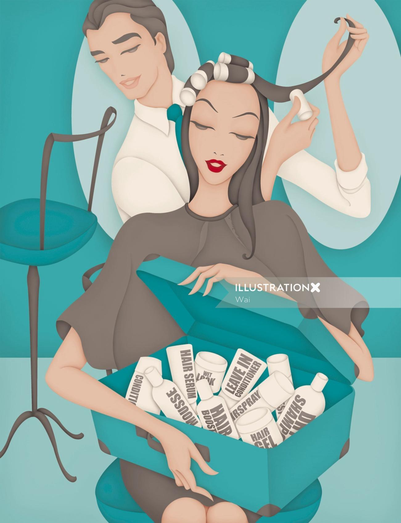 Editorial illustration for Pro Hair Magazine, Client Confidential page - 'hairdressers and beauticia