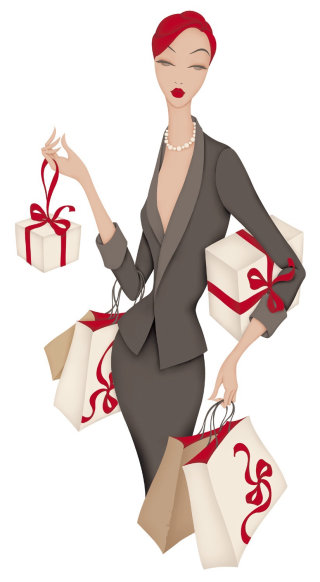 Glamorous lady with shopping bags & gifts