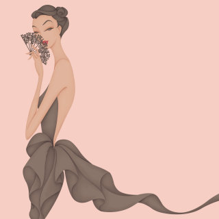 Fashion illustration of mysterious woman behind fan in black dress