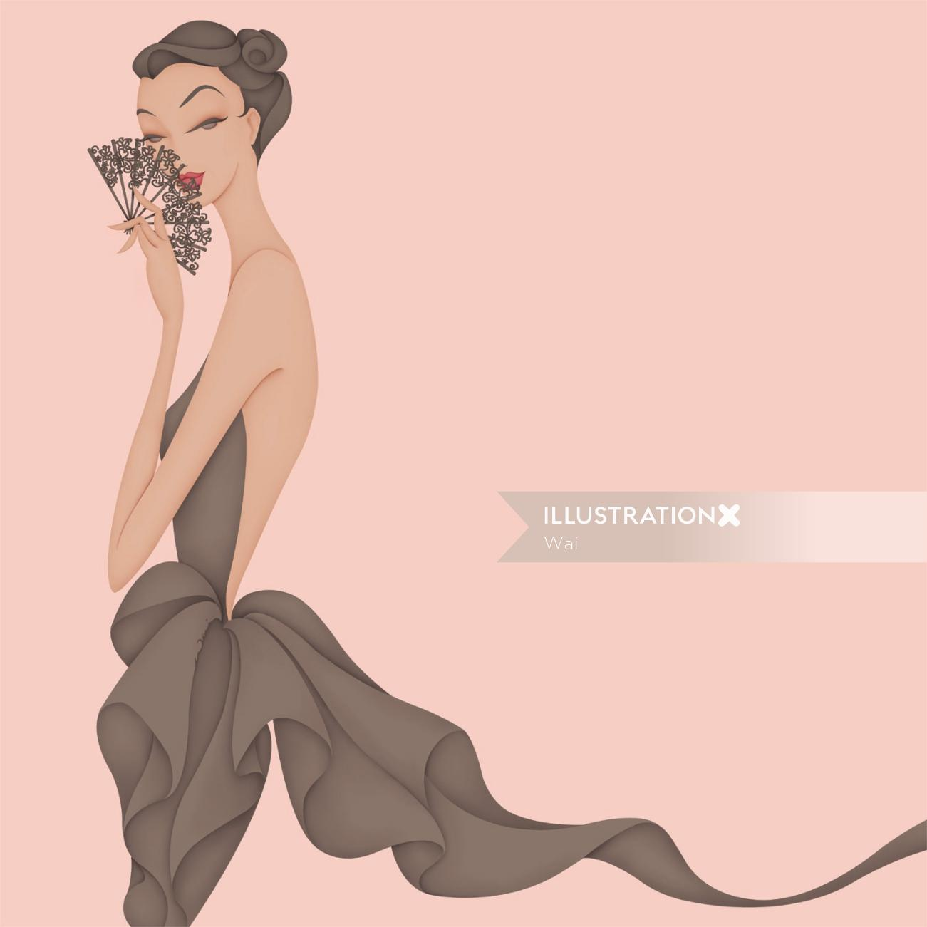 Fashion illustration that was printed onto A6 notepads and distributed for self promotion.