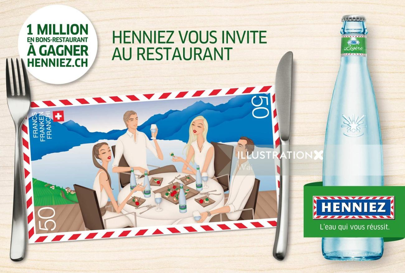 Henniez advertisement for M&C Saatchi, one of two illustrations used in a multimedia restaurant camp