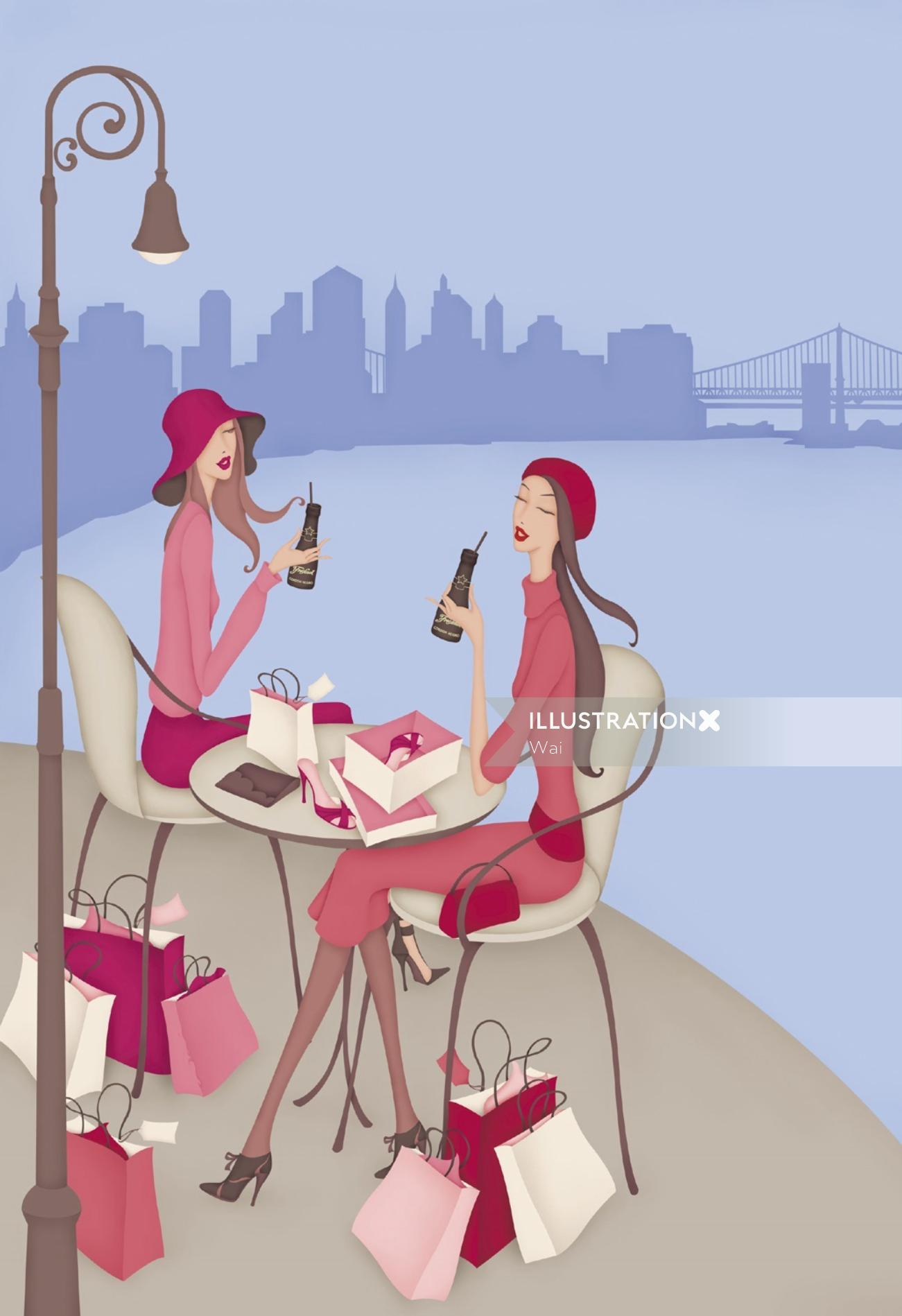 Freixenet Champagne Win a Trip for Two to New York Campaign. Single page magazine Ad, Two women sitt