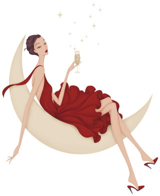 woman laying on crescent moon drinking champagne