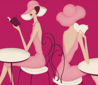 Illustration of two women sitting in cafe reading books in hats