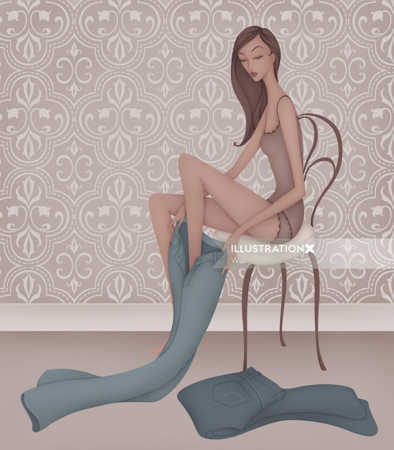 illustration of Woman sitting in chair trying on jeans