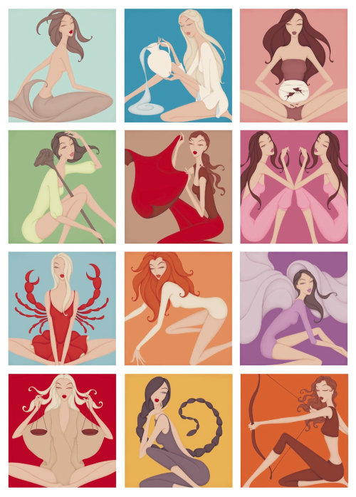 Horoscope illustrations for Freundin Magazine for their annual Horoscope Booklet.