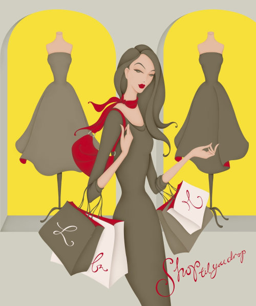 Illustration of women shopping, walking past shop windows, holding shopping bags