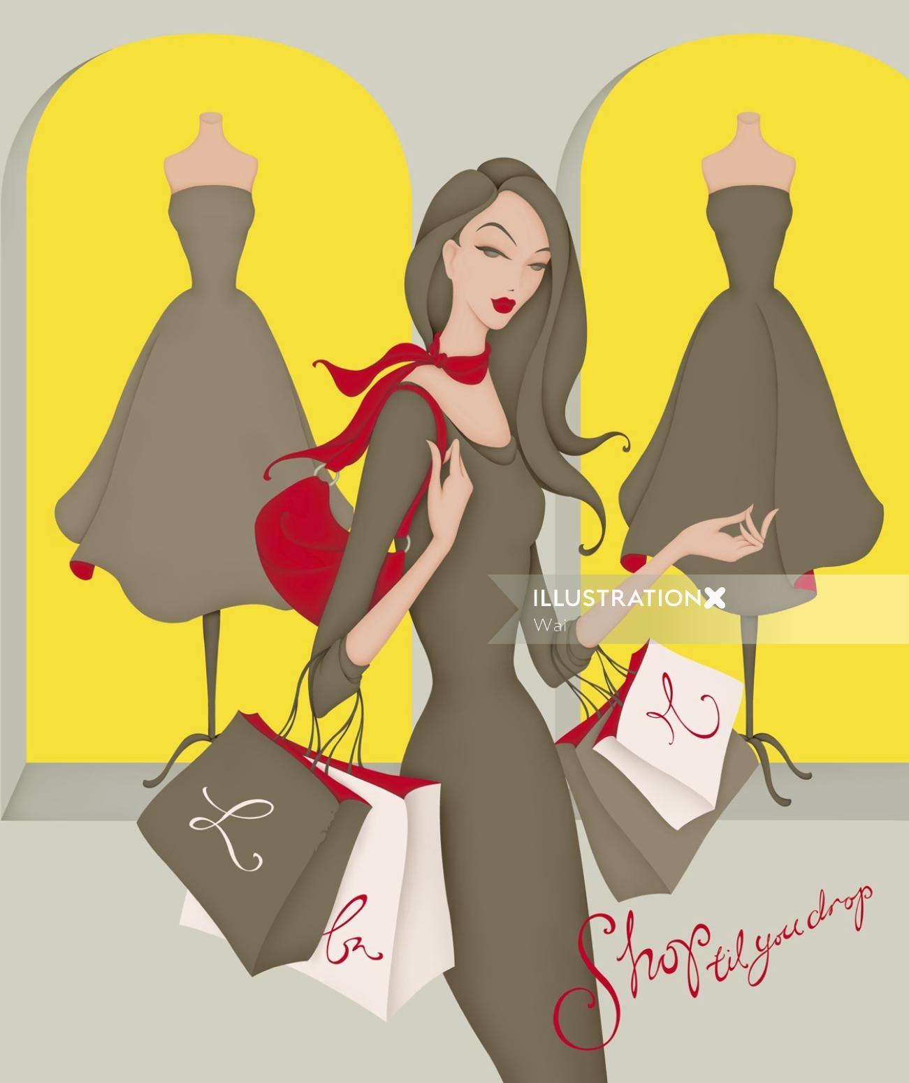 Illustration of women shopping, walking past shop windows, holding shopping bags
