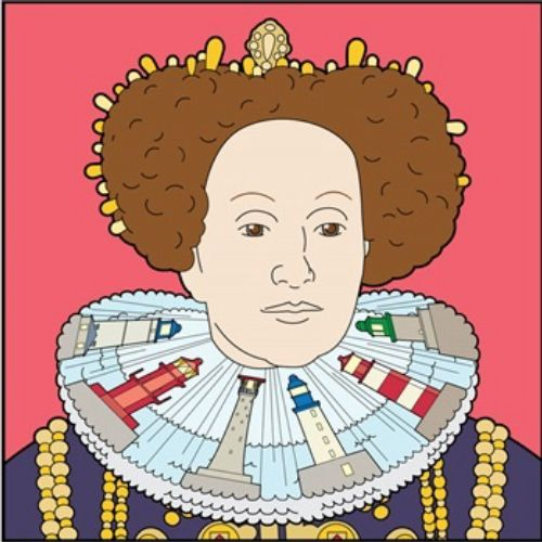 Infographic portrait of English queen