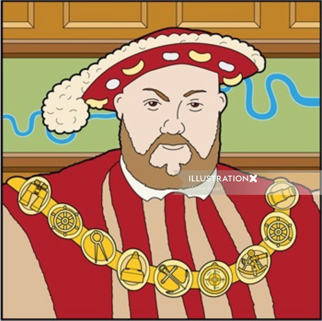 King of England portrait illustration