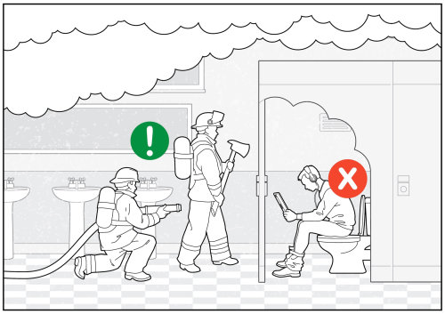 humorous image of man relaxing in toilet with tablet while firefighters attempt to rescue him from f