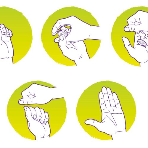 Magic Hands Coin Trick Vector Graphic