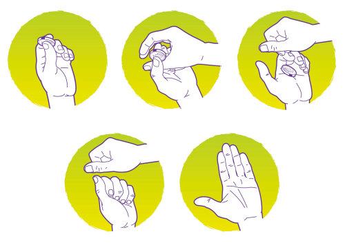 魔术手硬币把戏矢量图形