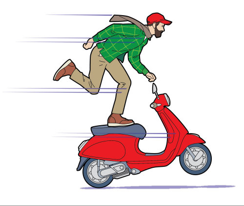 scooter, man on scooter, vespa, man balancing, red scooter, joy ride, hipsterGraphic illustration of