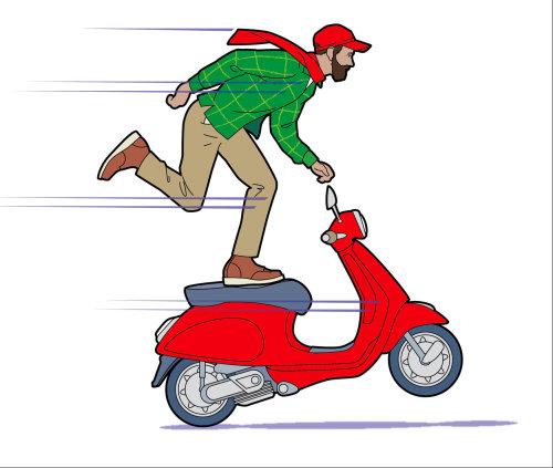踏板车,踏板车上的人,vespa,平衡的男人,红色踏板车,喜悦骑,行家