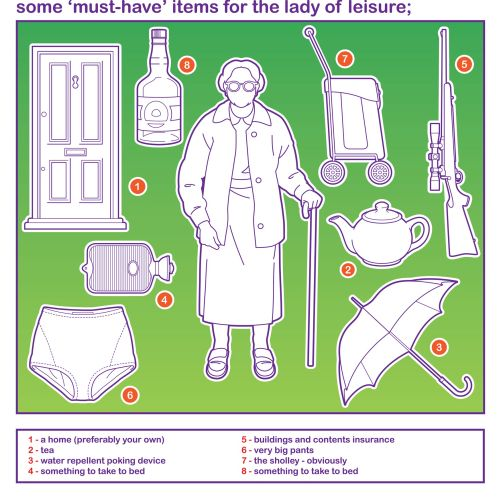 OAP Survival Kit illustration for a lady of leisure.