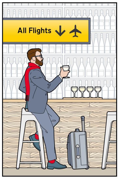 airport, bar, wine, tasting, departure, lounge, traveller, travel