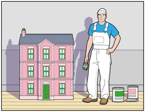 房子模型前的画家