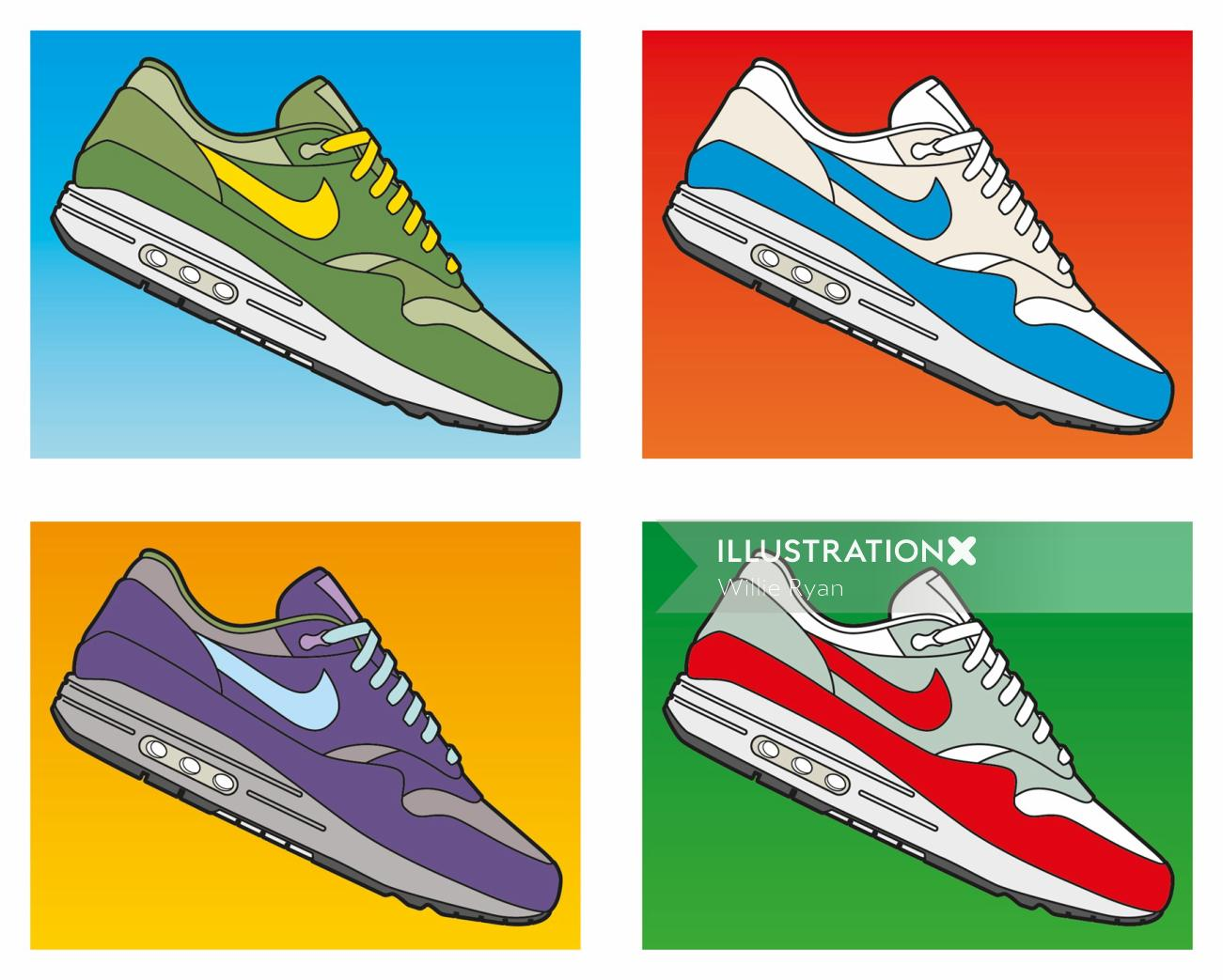 NIKE trainers image hommage to NIKE AIR Willie,Ryan,illustrator,illustration, graphic,symbol,logo,ic
