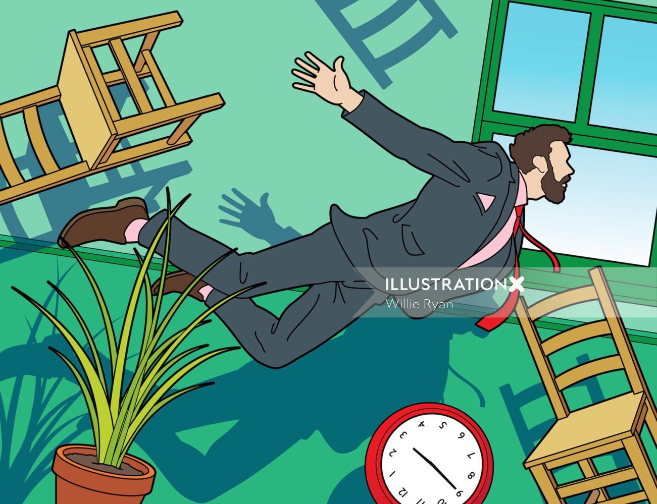 Surreal interior lifestyle illustration