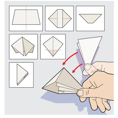 Origami step by step infographic illustration