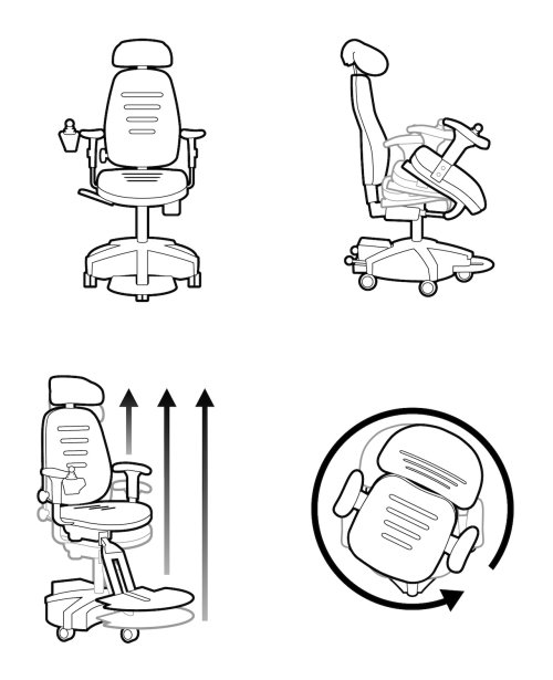 Line drawing of Office chair furniture