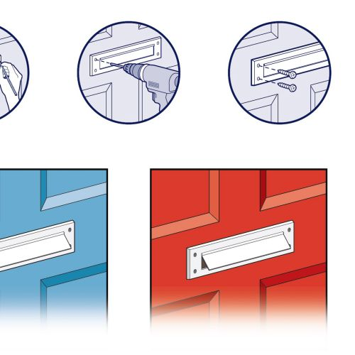 Step by step letterbox tools fitting realistic illustration