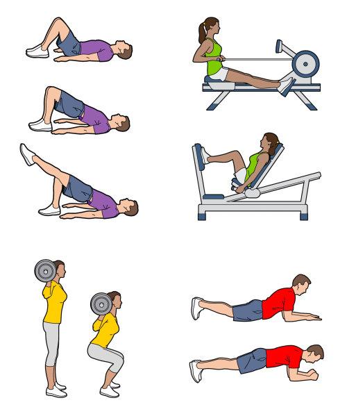 Editorial illustration of sports and fitness exercise for Waitrose Magazine