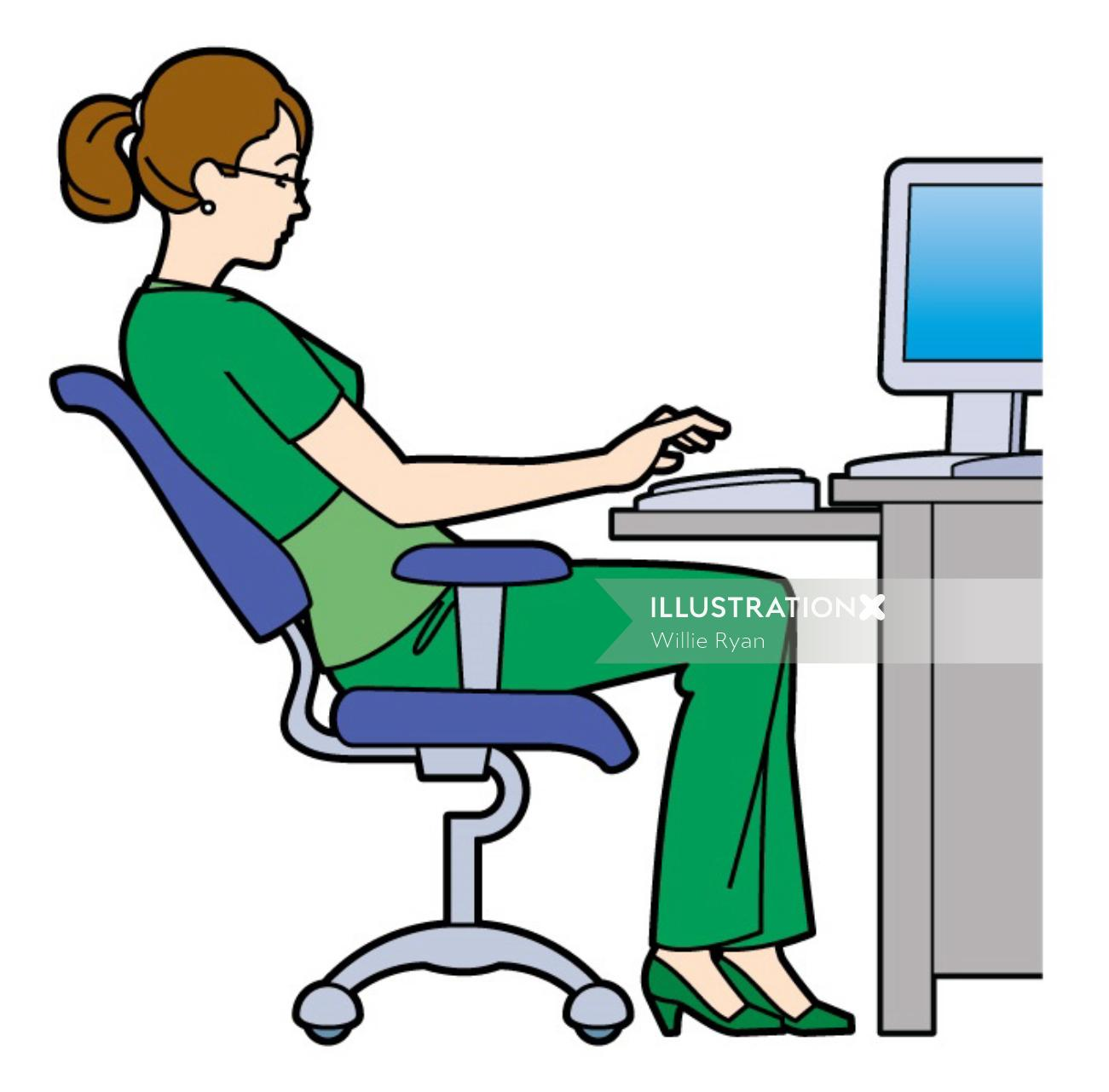 Infographic illustration of Woman sitting at computer desk