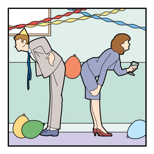 Man and woman playing office party games