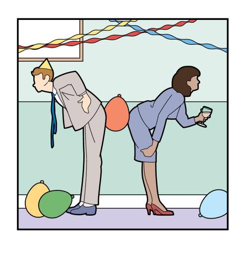 男人和女人玩办公室聚会游戏