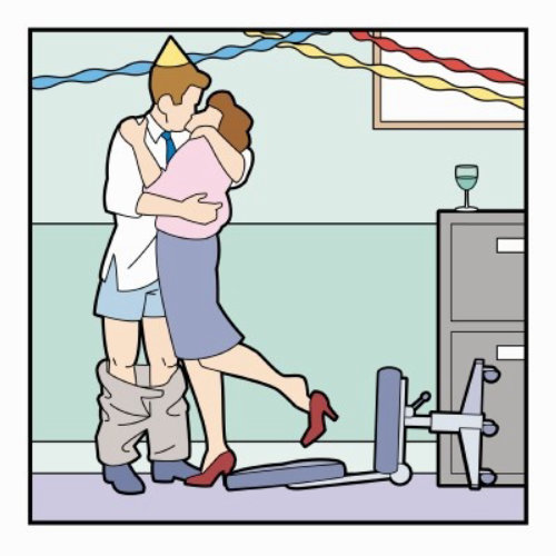 Office party kissing illustration for Research magazine